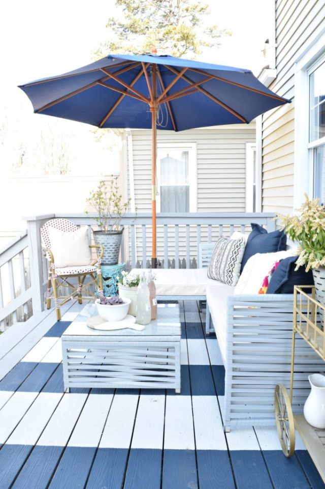 DIY Blue & White Striped Deck - Coastal Inspired Outdoor Decorating Scheme - Nesting with Grace