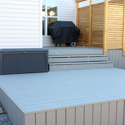 Backyard Deck Makeover - Benjamin Moore Chelsea Gray Deck HC-168 - Cedar Privacy Screen