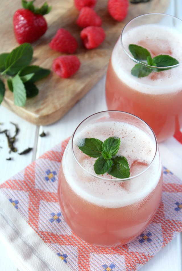 Blended Berry and Mint Green Iced Tea in a Glass