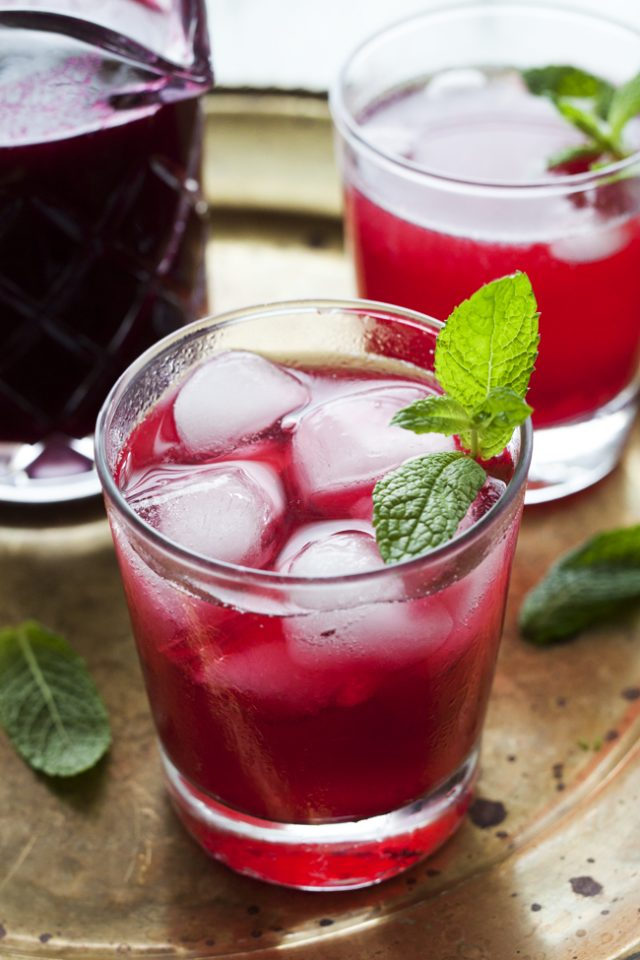 Blueberry Gin Fizz with Fresh Mint by One Tough Cookie