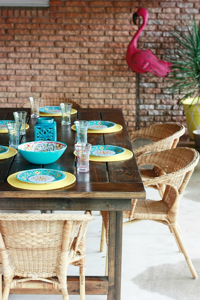 DIY Outdoor Farmhouse Table - Patio Decorating Ideas - Amber Oliver