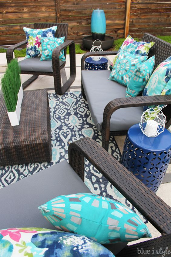 Patio Makeover Ideas - Modern Colorful Patio Decor by Blue I Style