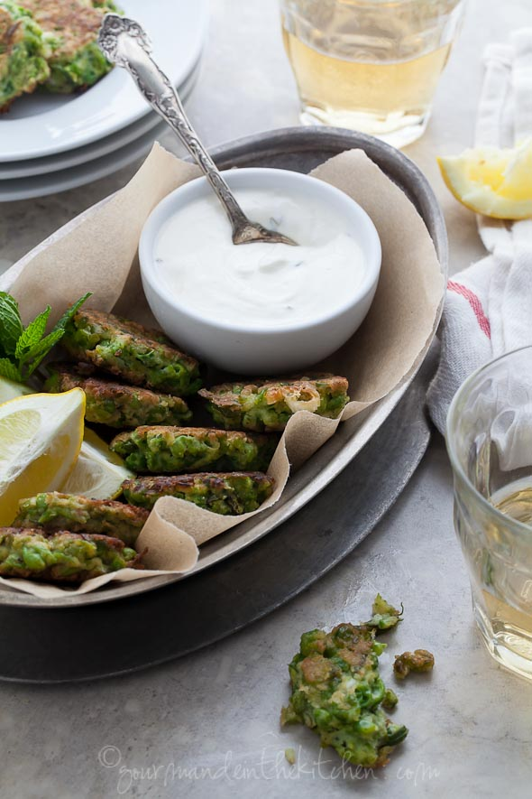 Pea, Mint and Feta Fritters with Yogurt Mint Dipping Sauce - Gluten Free - Gourmande in the Kitchen