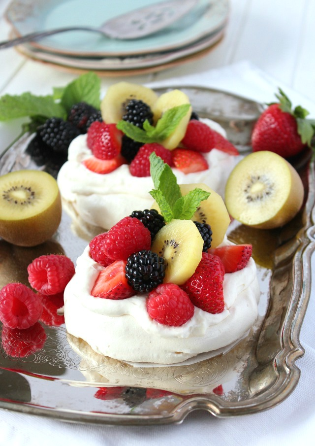 Mini Pavlova with Maple Whipped Cream and Summer Fresh Fruit - The Perfect Dessert for Entertaining - Satori Design for Living
