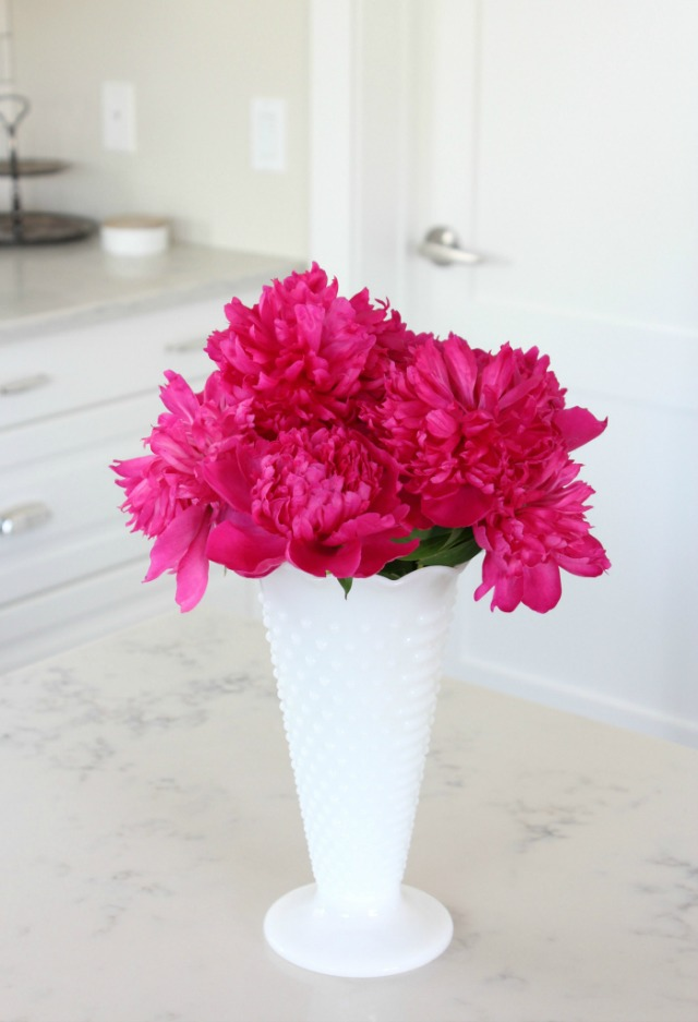 Bright Pink Peonies in Hobnail Milkglass Vase - Satori Design for Living