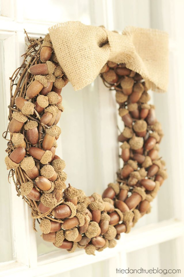 Fall Decorating Ideas Using Nature - DIY Acorn Fall Wreath by Tried & True
