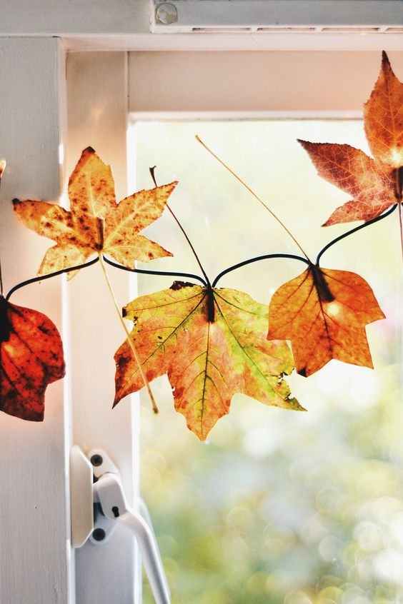 Fall Decorating Ideas Using Nature - Autumn Leaf Garland with Lights by Wallflower Kitchen