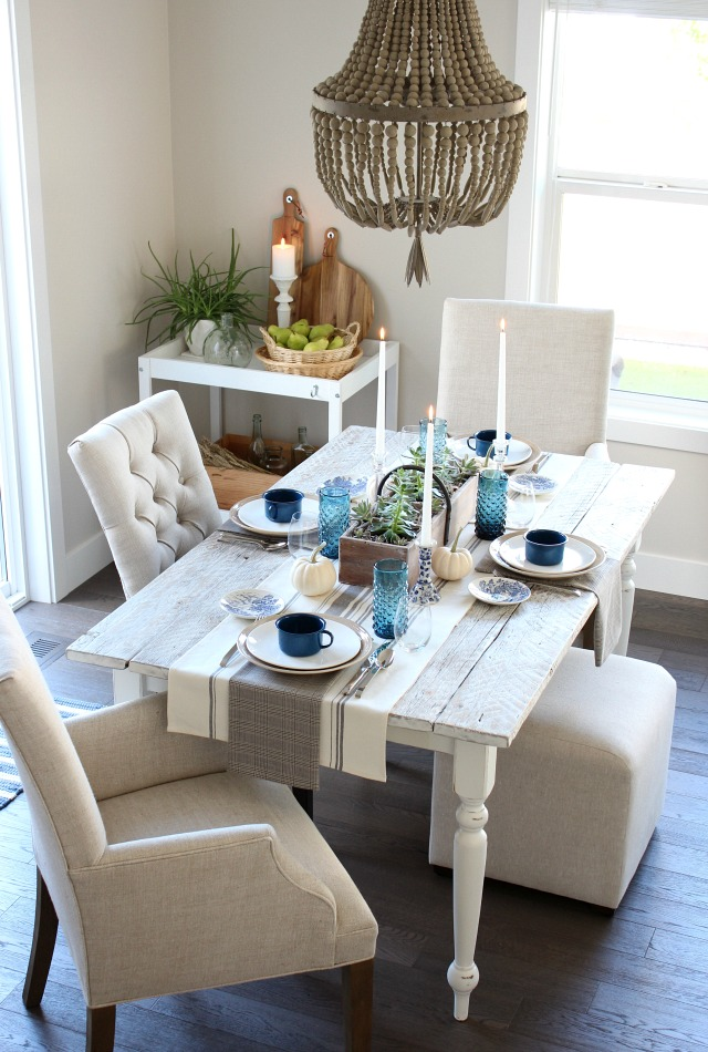 Fall Home Tour - Modern Farmhouse Dining Room with Beaded Chandelier - Satori Design for Living