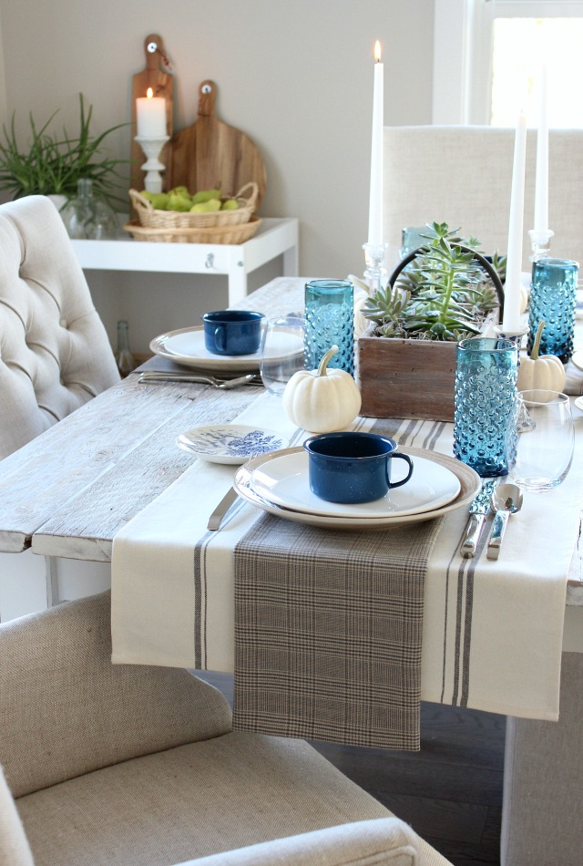 Fall Home Tour - Blue, White & Neutral Casual Table Setting - Satori Design for Living
