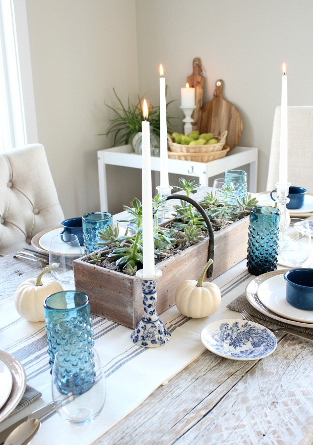 Fall Home Tour - Farmhouse Dining Room with Blue Table Decor - Satori Design for Living