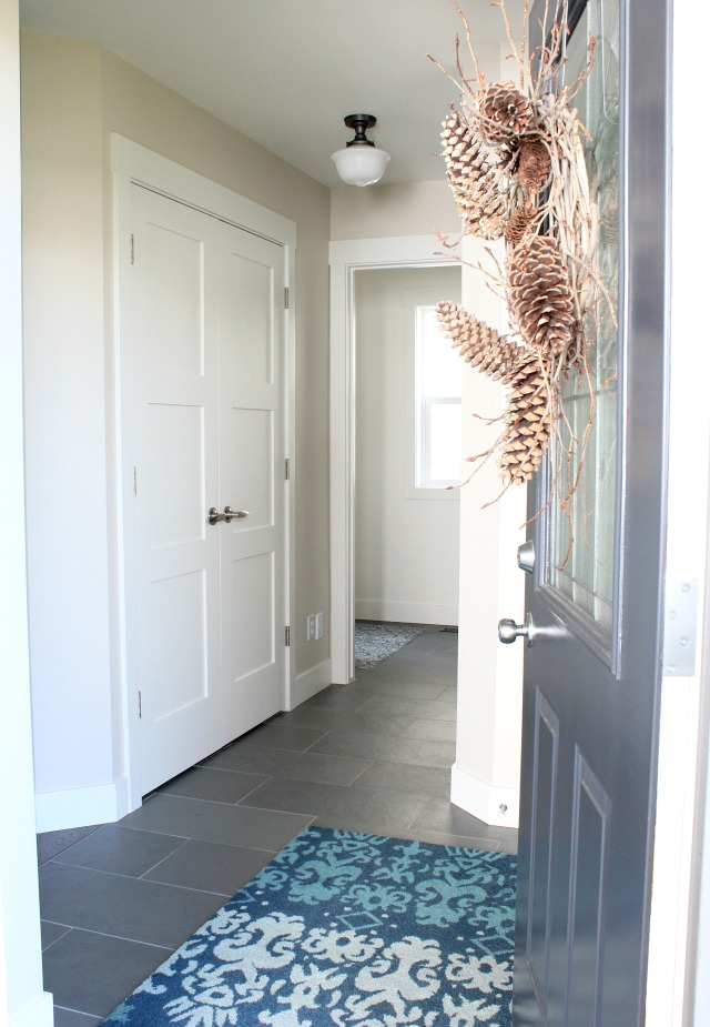 Fall Home Tour - Front Entrance with Charcoal Door and Pine Cone Wreath