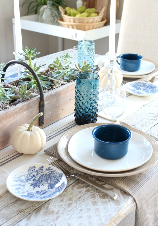 Fall Home Tour - Thrift Shop Table Decor - Indigo Blue Drinking Glasses - Satori Design for Living