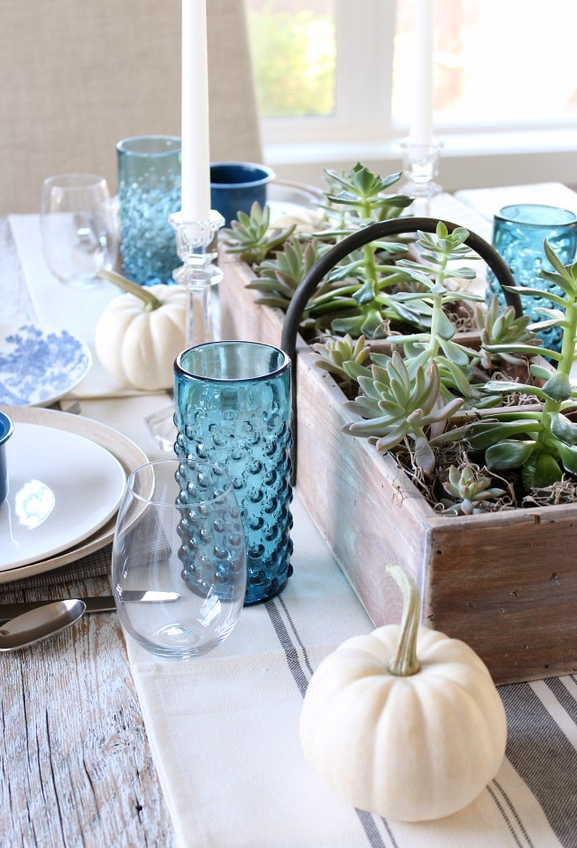 Fall Home Tour - Indigo Blue & White Fall Table Decorations - Satori Design for Living