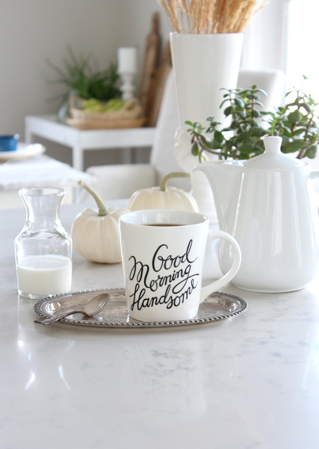 Fall Home Tour - Fall Kitchen Decor - Calligraphy Mug - Satori Design for Living