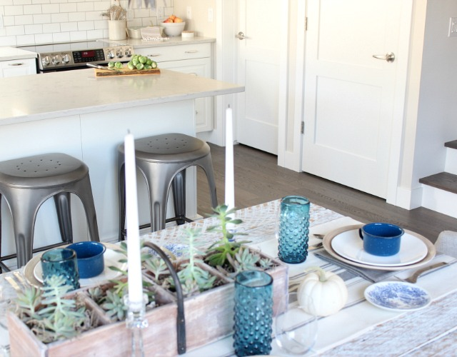 Fall Home Tour - Modern Farmhouse Kitchen & Dining Room - Moody Blue & White Fall Decor - Satori Design for Living