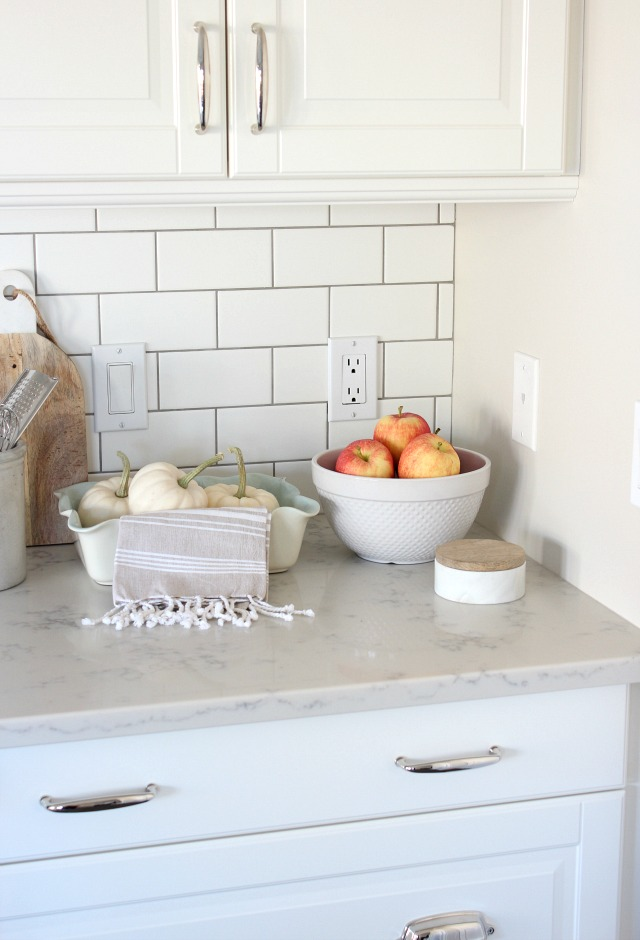 Fall Home Tour - Decorating the Kitchen with Seasonal Produce - White Subway Tile Backsplash - Satori Design for Living