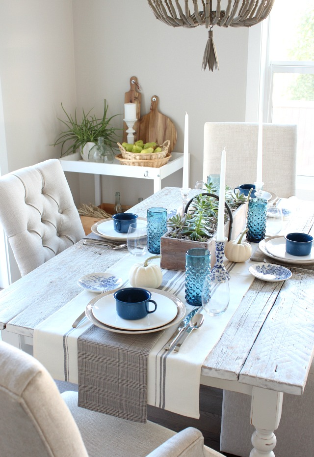 Fall Home Tour - Rustic Indigo Vintage Fall Tablescape - DIY Farmhouse Table - Satori Design for Living