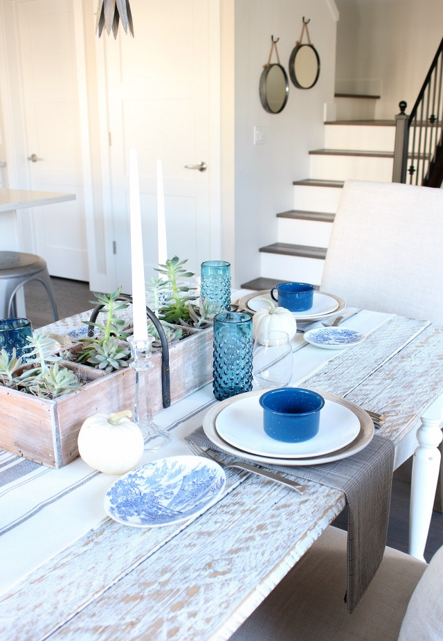Fall Home Tour - Eclectic Vintage Blue & White Farmhouse Decor - Satori Design for Living