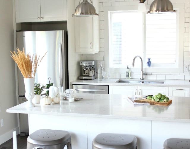 Fall Home Tour - Simple Farmhouse White Ikea Kitchen Decorated for Fall - Satori Design for Living