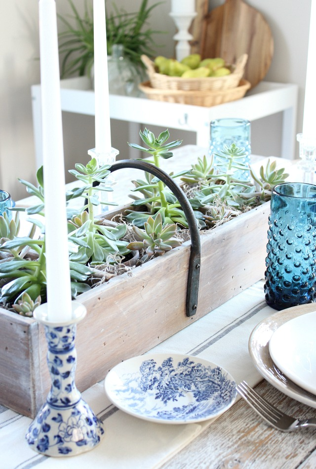 Fall Home Tour - Vintage Tool Box Succulent Table Centerpiece - Satori Design for Living