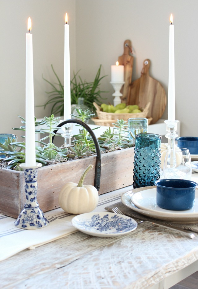 Fall Home Tour - Thrift Shop Dining Room Table Decor - Handpainted Blue & White Candle Holder - Satori Design for Living