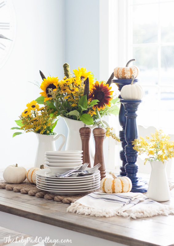 Fall Decorating Ideas Using Nature - Fall Tablescape with Sunflowers by The Lilypad Cottage