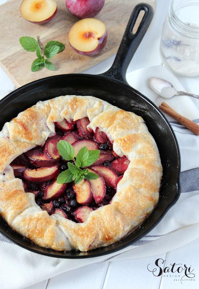 Country Style Plum & Saskatoon Berry Pie - Skillet Galette Recipe - Satori Design for Living