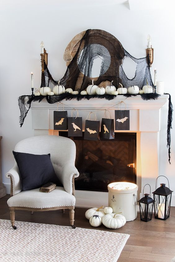 Chic Halloween Decorating Ideas   Classic Black And White Halloween Mantel  By So Much Better With Part 55