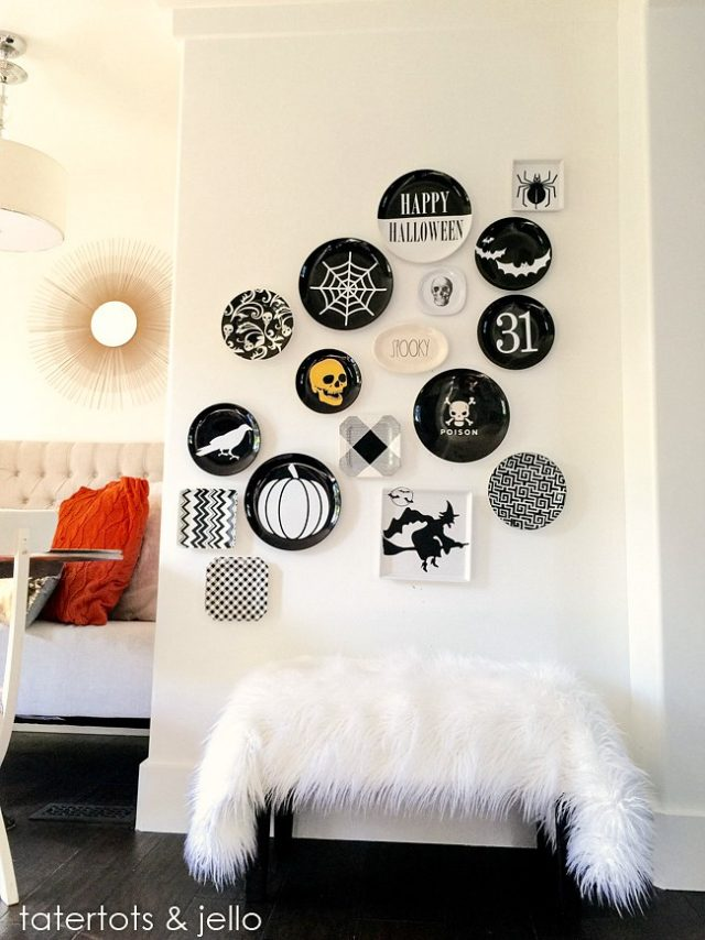 Chic Halloween Decorating Ideas - DIY Halloween Plate Wall with Vinyl Cutouts by Tatertots and Jello