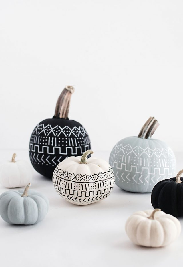 Chic Halloween Decorating Ideas - DIY Mud Cloth Painted Pumpkins by Homey Oh My