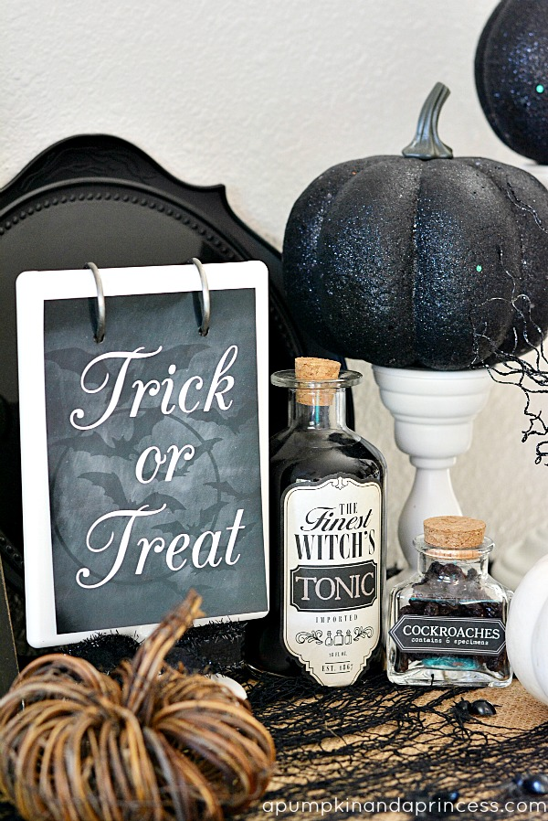 Chic Halloween Decorating Ideas - Easy Halloween Decorations - DIY Potion Bottles by A Pumpkin and a Princess