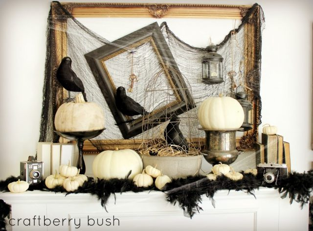 Chic Halloween Decorating Ideas - Spooky Crow Mantel by Craftberry Bush