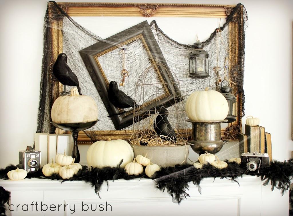 chic halloween decorating ideas spooky crow mantel by craftberry bush - Chic Halloween Decor