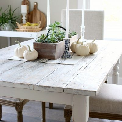 DIY Whitewashed Dining Table - Rustic Farmhouse Style Table by Satori Design for Living