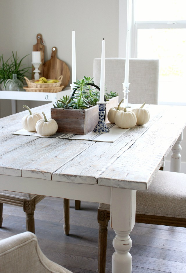 whitewashed reclaimed wood table by satori design for living
