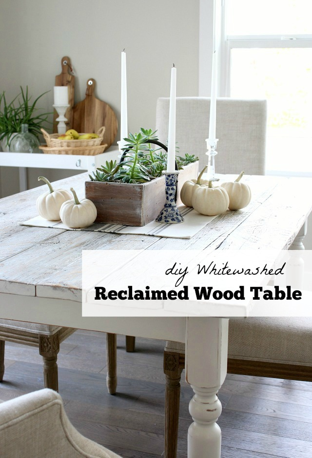 Is your kitchen table dated? Add a bit of farmhouse chic by transforming it into a whitewashed reclaimed wood dining table. Step-by-step instructions!