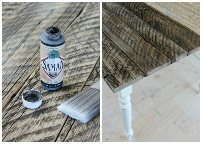 Finishing Technique for Whitewashed Reclaimed Wood Dining Table - SamaN  Water-based Stain - Satori - Whitewashed Reclaimed Wood Dining Table - Satori Design For Living