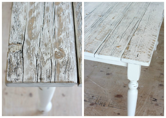 White Distressed Dining Table Finishing Steps - Satori Design for Living - Whitewashed Reclaimed Wood Dining Table - Satori Design For Living