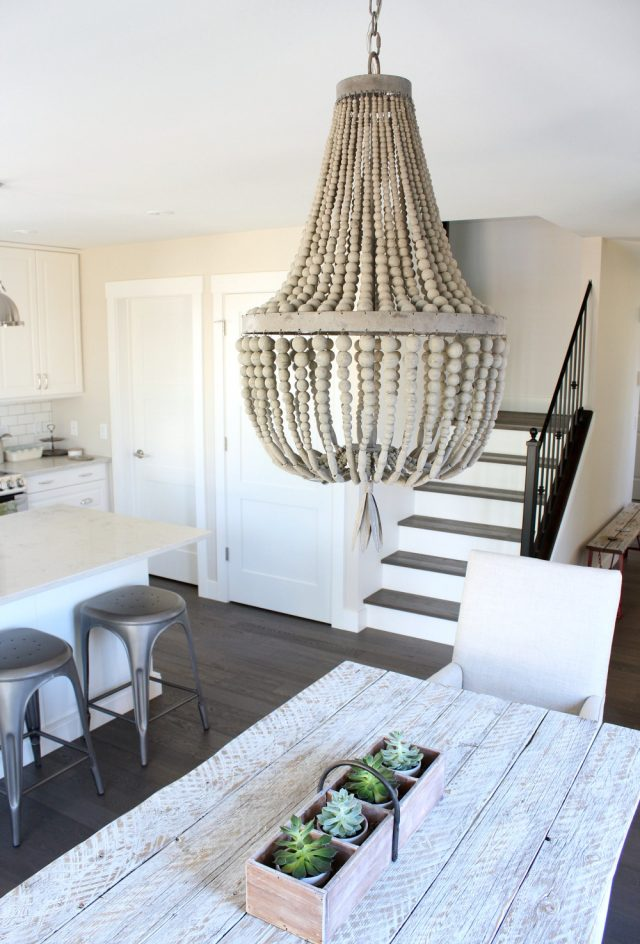 Wood Beaded Chandelier - Modern Farmhouse Kitchen & Dining Area - Satori Design for Living