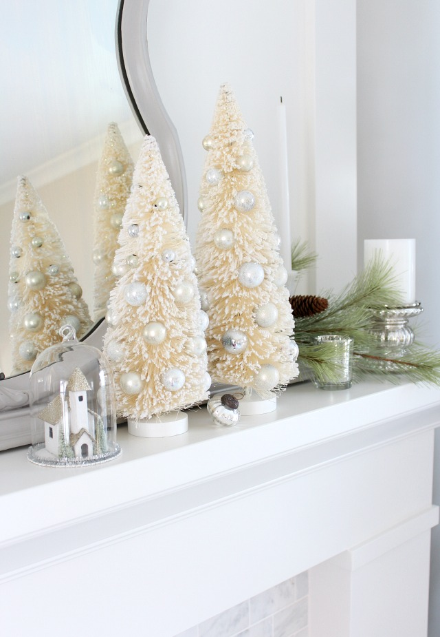 christmas mantel decorating ideas bottle brush trees winter wonderland decor