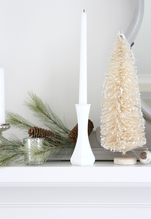 Christmas Mantel Decorating Ideas - Using Milkglass in Holiday Decor
