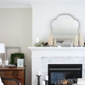 Christmas Mantel Decorating Ideas - Come see how I transformed our white and marble fireplace in to a vintage winter wonderland!