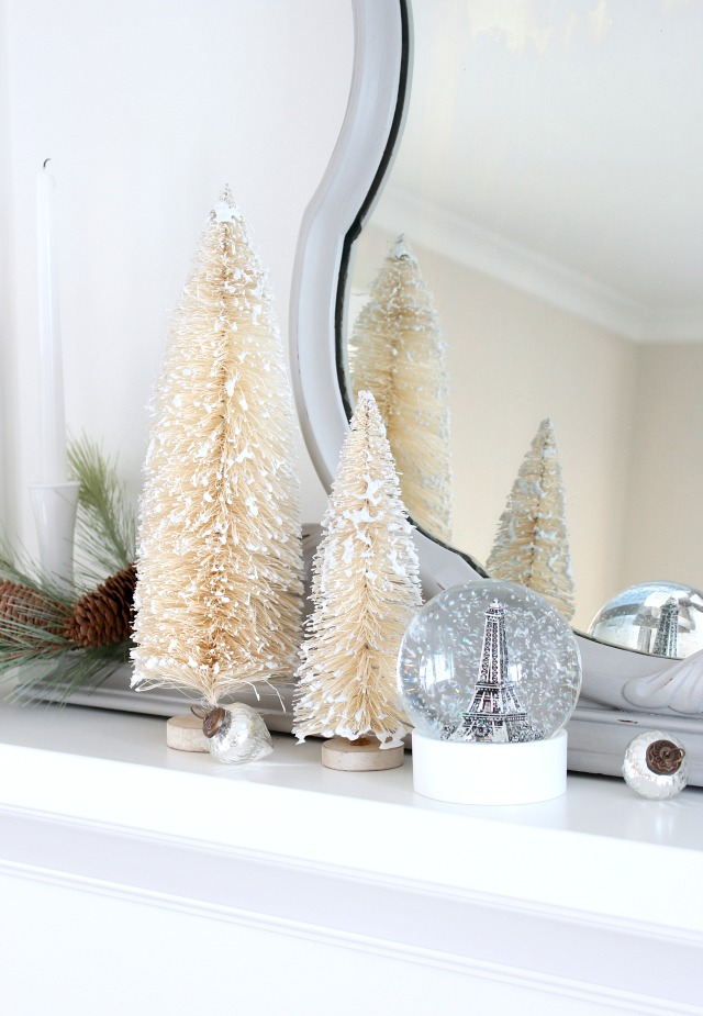 Christmas Mantel Decorations - Snow Covered Bottle Brush Trees