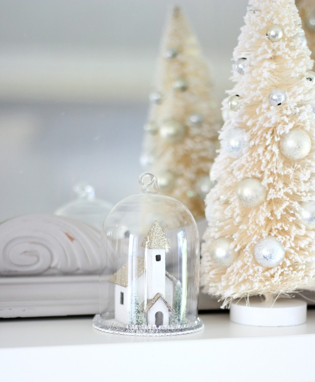 Church Cloche Ornament with Bottle Brush Trees - Mantel Decorating Ideas for Christmas