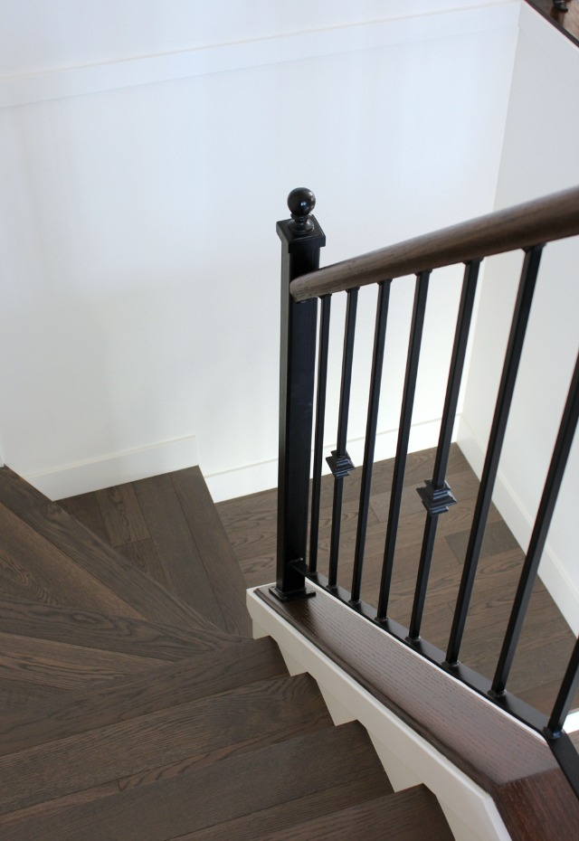 Staircase Makeover - Dark Wood Stair Treads with Iron Railings - Satori Design for Living