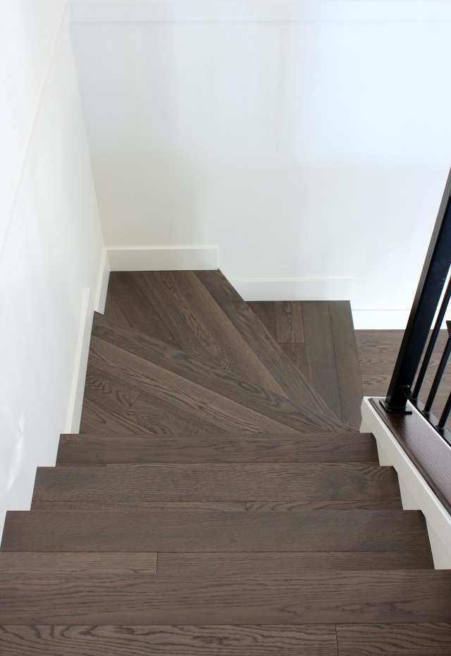 Hardwood Stair Project - Dark Hardwood Treads with White Painted Risers - Satori Design for Living