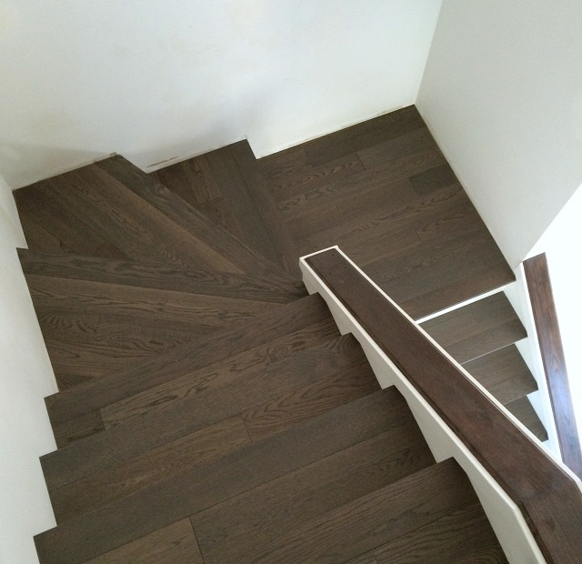 Carpet to Hardwood Staircase Makeover - Installing Hardwood Treads and White Risers