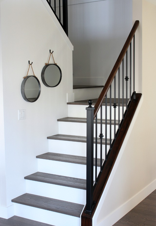 From Carpet to Hardwood Staircase Makeover - Stairs with White Risers and Dark Treads - Satori Design for Living