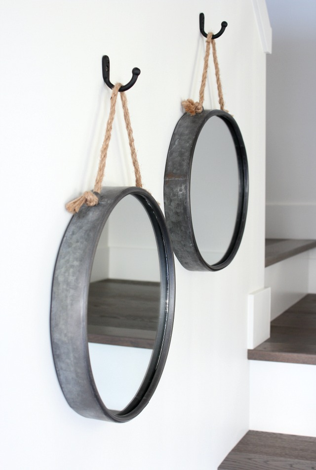 Iron Rope Mirrors Hung in Staircase - Tips for Hanging Art in the Stairwell