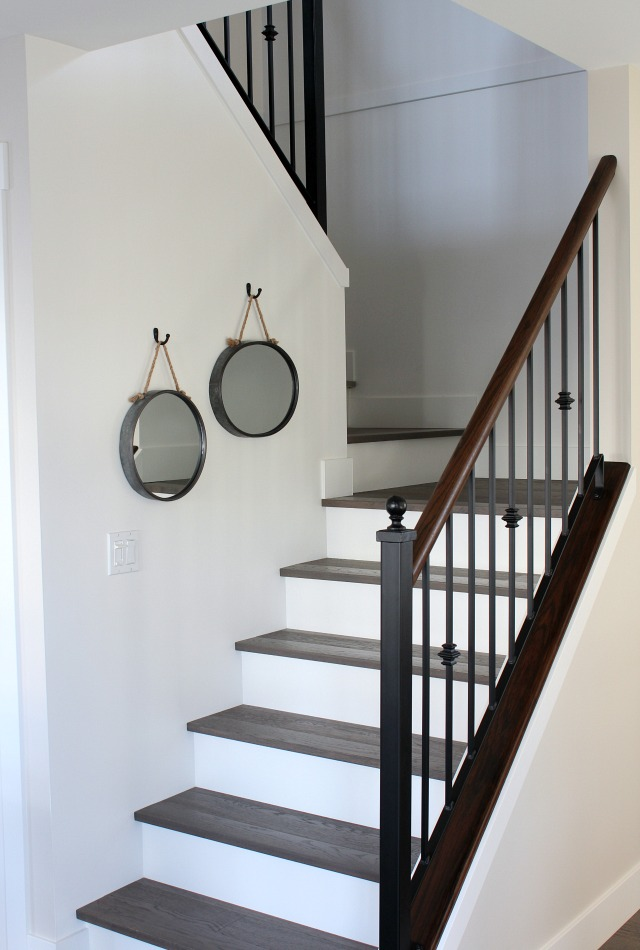 Carpet to Hardwood Staircase Makeover - White Oak Hardwood Treads with White Painted Risers - Satori Design for Living